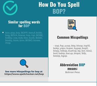 Correct spelling for bop