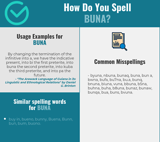 Correct spelling for buna