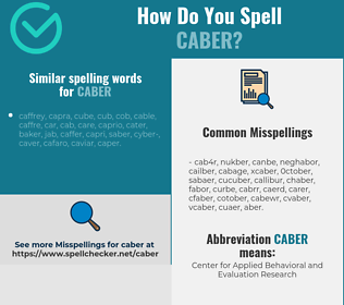 Correct spelling for caber