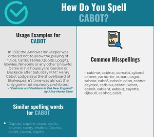 Correct spelling for cabot