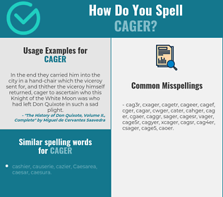 Correct spelling for cager
