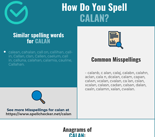Correct spelling for calan