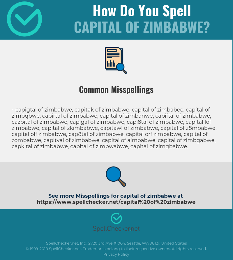 Correct spelling for Capital Of Zimbabwe [Infographic