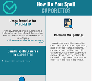 Correct spelling for caporetto
