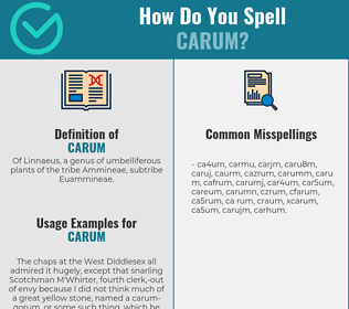 Correct spelling for carum