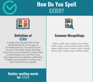 Correct spelling for cero