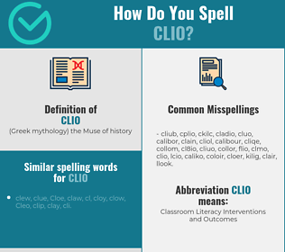 Correct spelling for clio