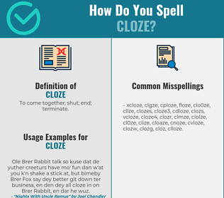 Correct spelling for cloze
