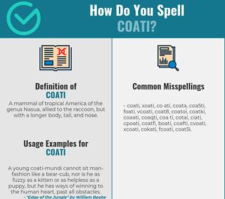 Correct spelling for coati
