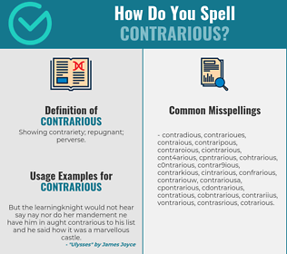Correct spelling for contrarious