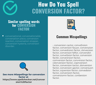 Correct spelling for conversion factor