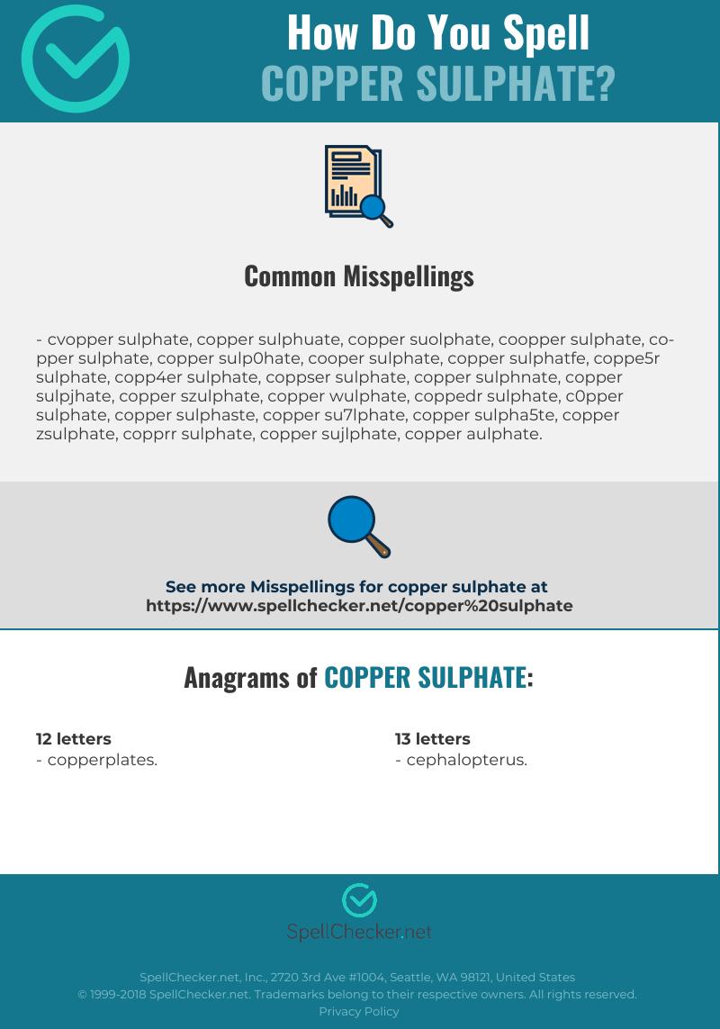 Correct spelling for Copper Sulphate | Spellchecker net