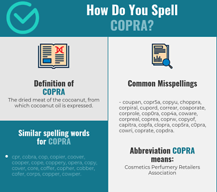 Correct spelling for copra