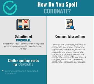 Correct spelling for coronate