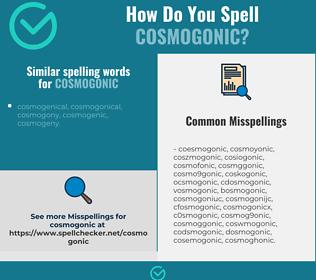 Correct spelling for cosmogonic
