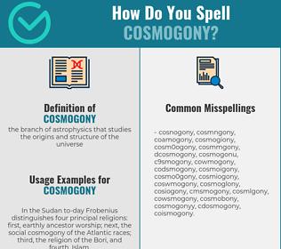 Correct spelling for cosmogony