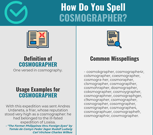 Correct spelling for cosmographer