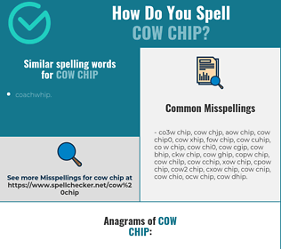 Correct spelling for cow chip