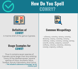 Correct spelling for cowry