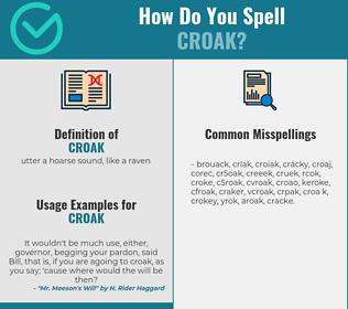 Correct spelling for croak