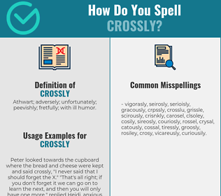 Correct spelling for crossly