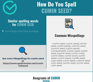 Correct spelling for cumin seed