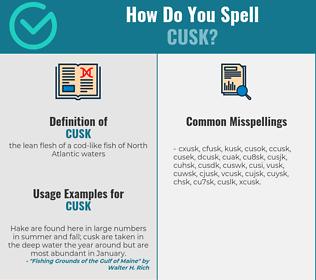 Correct spelling for cusk