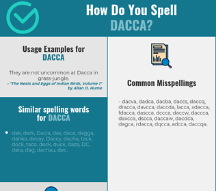 Correct spelling for dacca