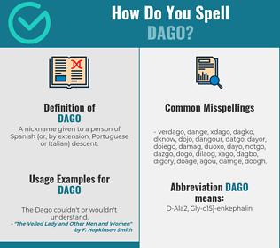 Correct spelling for dago
