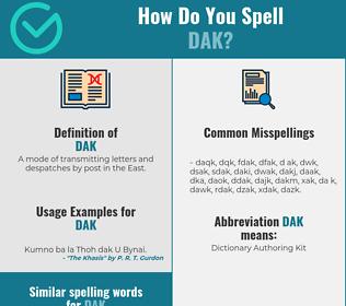 Correct spelling for dak