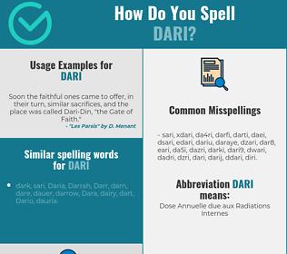 Correct spelling for dari