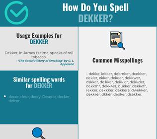 Correct spelling for dekker