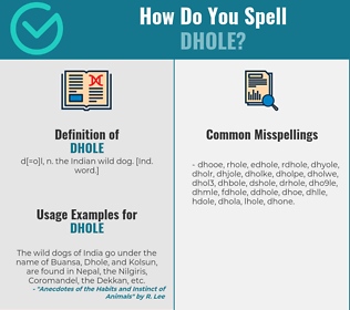 Correct spelling for dhole