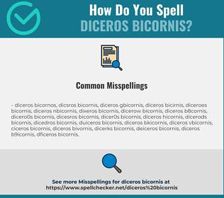 Correct spelling for Diceros Bicornis