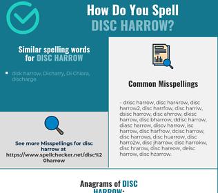 Correct spelling for disc harrow