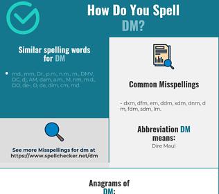 Correct spelling for dm