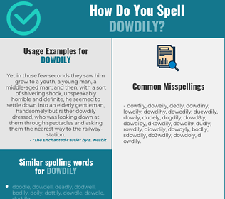 Correct spelling for dowdily