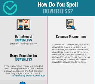 Correct spelling for dowerless