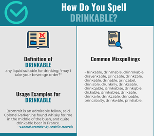 Correct spelling for drinkable