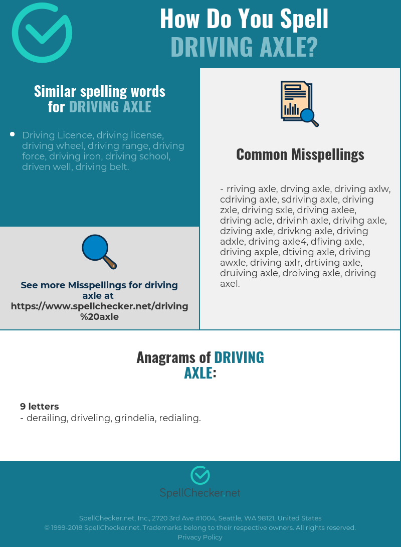 Correct spelling for driving axle [Infographic