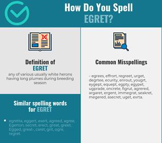 Correct spelling for egret