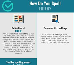 Correct spelling for eider