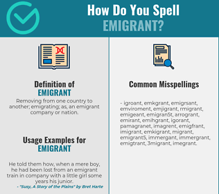 Correct spelling for emigrant