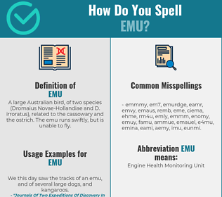 Correct spelling for emu