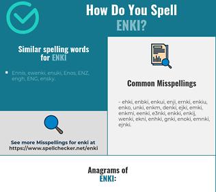 Correct spelling for enki