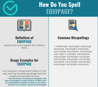 Correct spelling for equipage