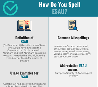 Correct spelling for esau