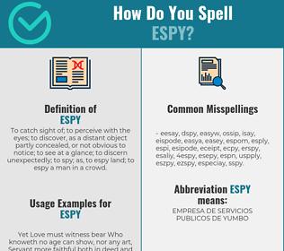 Correct spelling for espy
