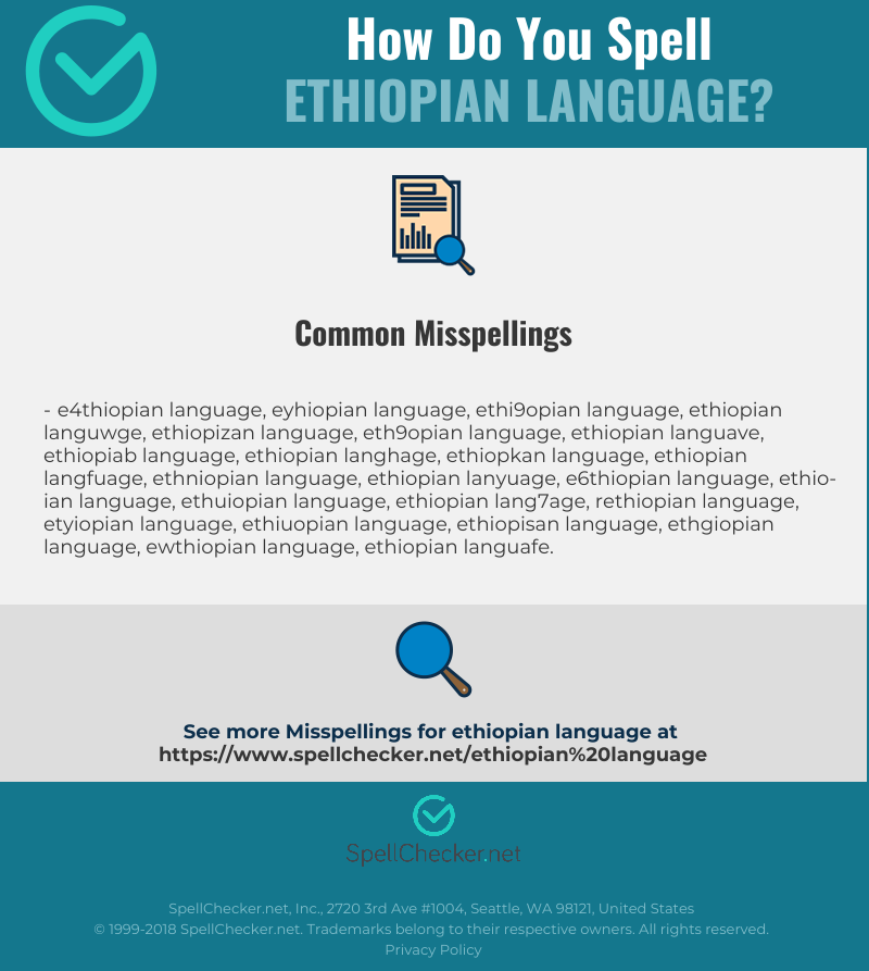 Correct spelling for Ethiopian Language [Infographic