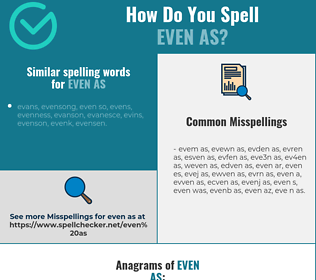 Correct spelling for even as